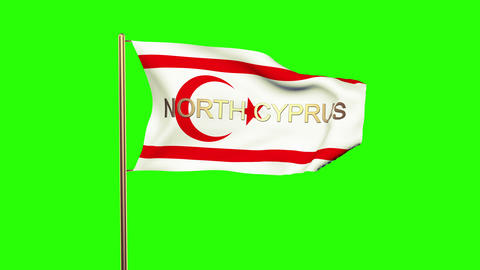 North Cyprus flag with title waving in the wind. Looping sun rises style. Animat Animation