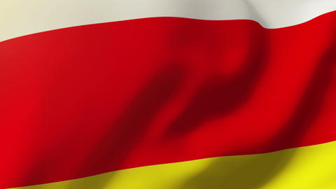 North Ossetia flag waving in the wind. Looping sun rises style. Animation loop Animation