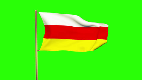 North Ossetia flag waving in the wind. Green screen, alpha matte. Loopable anima Animation