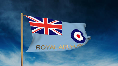 Royal Air Force flag slider style with title. Waving in the wind with cloud back Animation