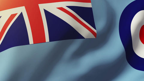 Royal Air Force flag waving in the wind. Looping sun rises style. Animation loop Animation