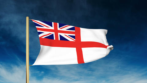 Royal Navy flag slider style. Waving in the win with cloud background animation Animation