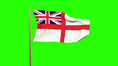 Royal Navy flag waving in the wind. Green screen, alpha matte. Loopable animatio Animation
