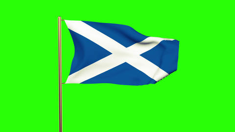 Scotland flag waving in the wind. Green screen, alpha matte. Loopable animation Animation