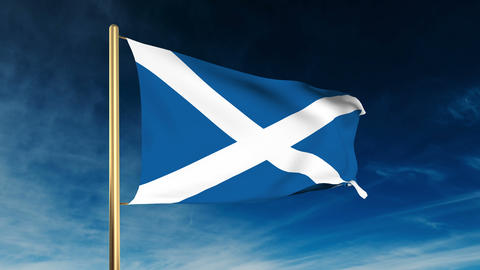 Scotland flag slider style. Waving in the win with cloud... 動画素材, ムービー映像素材