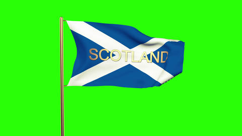 Scotland flag with title waving in the wind. Looping sun rises style. Animation  Animation