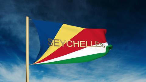 Seychelles flag slider style with title. Waving in the wind with cloud backgroun Animation