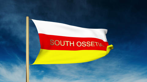 South Ossetia flag slider style with title. Waving in the wind with cloud backgr Animation