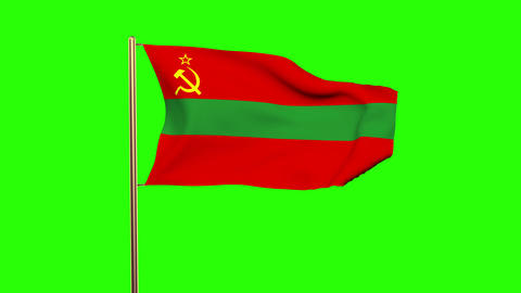 Transnistria flag waving in the wind. Green screen, alpha matte. Loopable animat Animation