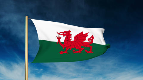 Wales flag slider style. Waving in the win with cloud background animation Animation