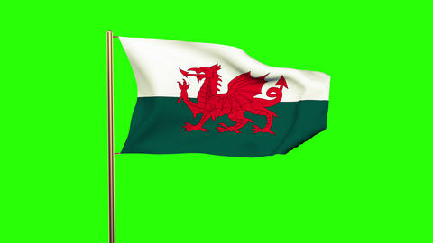 Wales flag waving in the wind. Green screen, alpha matte. Loopable animation Animation