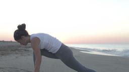 woman yoga meditation peace beach sunrise exercise spiritual Footage