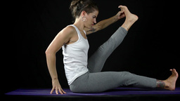 yoga moves and poses studio shoot Footage