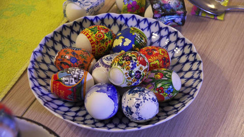 Design And Preparation Of Easter Eggs. 4K stock footage