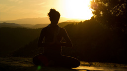 woman yoga meditation peace pose sunset exercise spiritual Footage