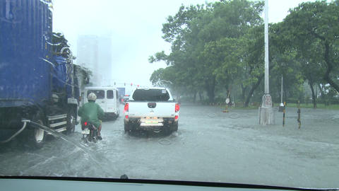 Driving In Flooded Road Tropical Storm Live Action
