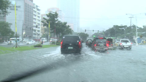 Driving In Flooded Road Tropical Storm Footage