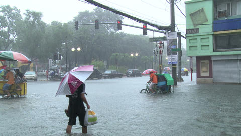 People Struggle Severe Flooding In Downtown Manila Philippines Live Action