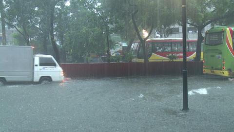 Street Kids Play In Flood Waters Manila Philippines Footage