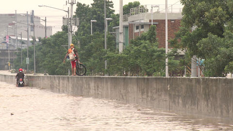 Extreme Urban Flooding In Downtown Manila Philippines Footage