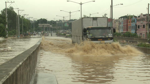 Truck Drives Through Flooded Road In Manila Philippines Live Action
