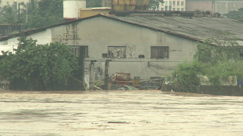 River In Full Flood After Monsoon Rains Footage