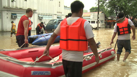 Rescue Team In Flood Crisis Manila Philippines stock footage