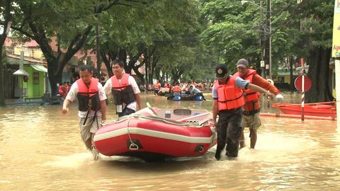 Rescue Team In Flood Crisis Manila Philippines Footage