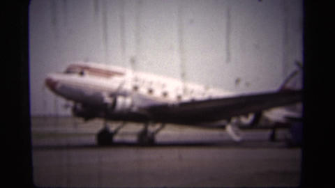 (1950s 8mm Vintage) Airplane Takeoff Closeup stock footage