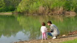 Nature Lake Pond Mother Mom Woman Family Girl Child Recreation Footage