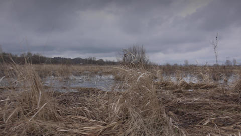 Flooded River in Prairie and Dramatic Sky Background.. 4K UltraHD, UHD Footage