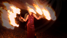 fire thrower performer circus woman dancer Footage