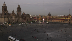 zocalo flag mexico city cathedral Footage