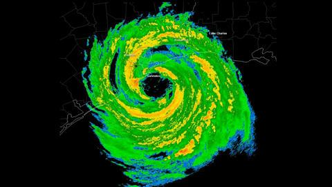 *LOOP* Hurricane Ike (2008) Landfall Time Lapse
