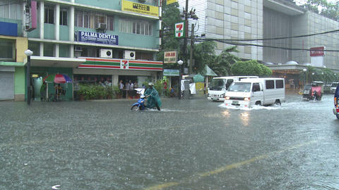 Urban Flooding In Downtown Manila Philippines Footage