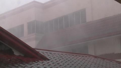 Extreme Hurricane Wind Rain Lash Building Typhoon Haiyan Tacloban stock footage