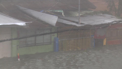 Hurricane Storm Surge Floods Building Typhoon Haiyan Tacloban Footage