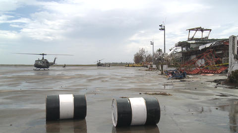Huey Helicopter At Destroyed Airport Tacloban Typhoon Haiyan Footage