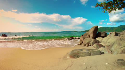 Tropical beach without people. Rocks and yellow sand. Thailand. Phuket Footage