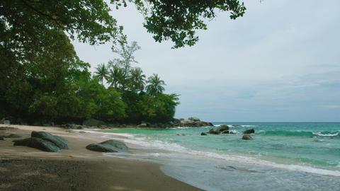 Deserted beach on a cloudy day. Thailand. Phuket Footage