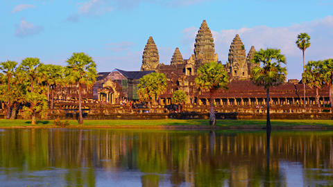 Angkor Wat From Across The Mote In Time-Lapse stock footage