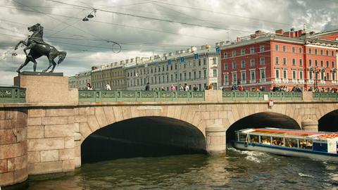 ST. PETERSBURG. RUSSIA - CIRCA JUN 2014: The Anichkov Bridge most famous bridge Footage