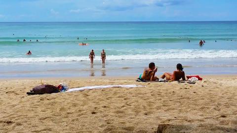PATONG. PHUKET. THAILAND - CIRCA NOV 2014: Tourists relaxing at Patong Beach in Footage