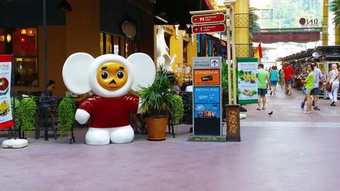 PATONG. PHUKET. THAILAND - CIRCA NOV 2014: Statue Of A Retail Mascot (Cheburashk stock footage
