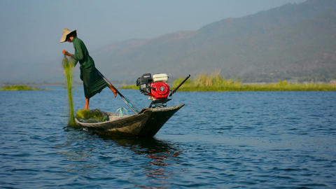 INLE LAKE. MYANMAR - CIRCA JAN 2014: Fisherman fishing on a boat with the networ Footage
