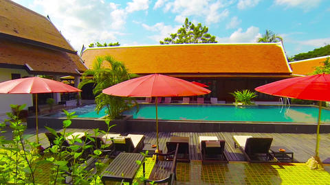 Pool And Deck At The Legendha Sukhothai Resort In Thailand stock footage