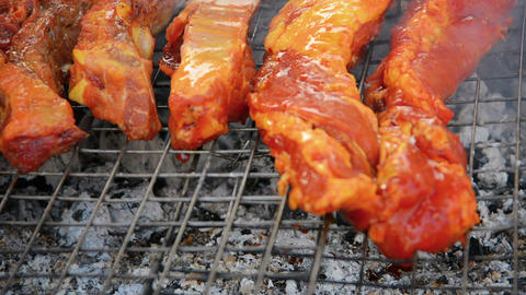 Meat On The Grill At A Barbecue In Vientiane. Laos stock footage