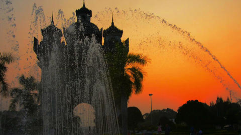 Patuxai Victory Arch in Vientiane. Laos at Sunset Footage