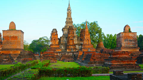 Surreal Perspective Shot of Ancient Ruins in Thailand Footage