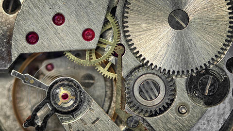 Macro shot of Clockwork Mechanism inside a Watch Footage